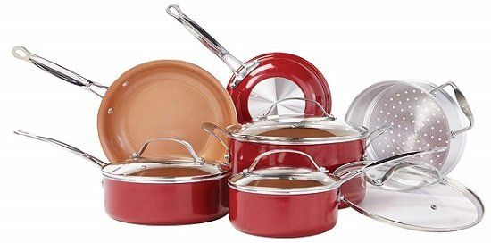BulbHead Red Copper 10-Piece Copper Infused Ceramic Cookware Set