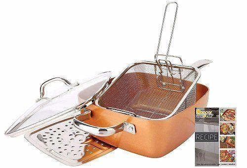 Square Pan Sets Non-Stick 5-Piece Copper Pan Set