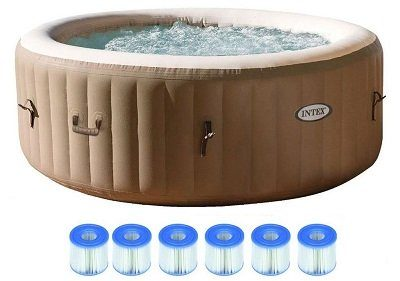 Intex Pure Spa 4-Person Portable Hot Tub with 6 Filter Cartridges