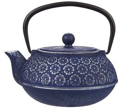 Juvale Blue Floral Cast Iron Teapot