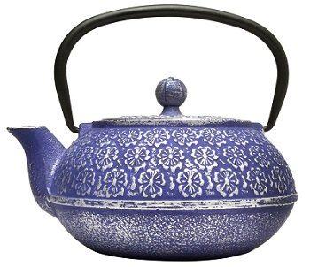 Primula Blue Floral Design Cast Iron Teapot