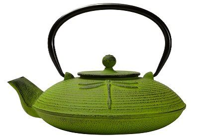 Primula Green Dragonfly Design Cast Iron Teapot