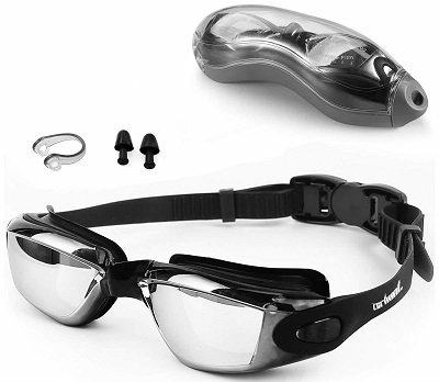 Zerhunt Swimming Goggles with Earplugs, Nose Clip and Protective Case