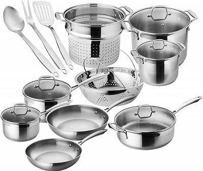 Chef's Star 17-Piece Stainless Cookware for Gas Stoves