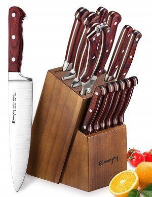 Emojoy 15-Piece Wooden Handle Knife Set